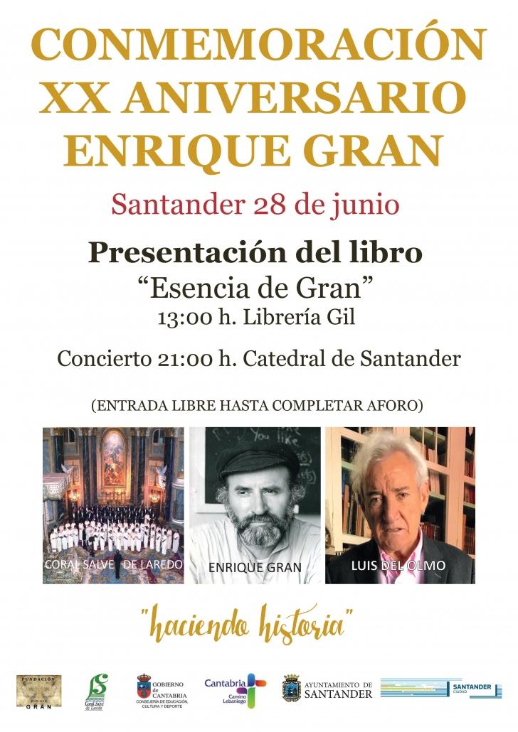 Cartel de la presentación del libro Esencia de Gran. 2019