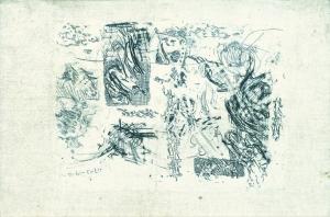 S/T. Grabado al aguafuerte estampado sobre tela. Tamaño tela 25 x 37 cm., tamaño huella 19 x 25 cm. Colección particular.