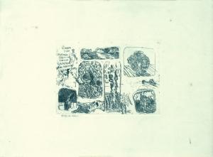 S/T. Grabado al aguafuerte estampado sobre papel. Tamaño papel 30 x 40 cm, tamaño huella 13 x 18 cm. Colección particular.
