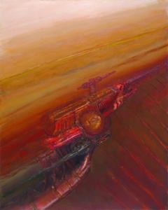 Maquinaria en el país de los óxidos (1992). Óleo sobre lienzo 160 x 130 cm. Colección particular.