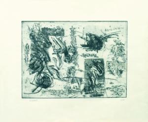 S/T (1965). Grabado al aguafuerte estampado sobre papel, tamaño papel 30 x 37 cm., tamaño huella 18 x 25 cm. Colección particular.