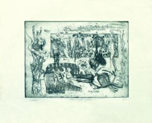 S/T (1965). Grabado al aguafuerte estampado sobre papel. Tamaño papel 30 x 37 cm, tamaño huella 18 x 25 cm. Colección particular.