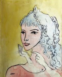 S/T. Acuarela y carboncillo sobre papel pegado a tabla 63 x 52 cm. Colección particular.
