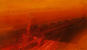 """Bautizado por la Fundación Titanic como """"El sueño del Titanic"""", e icono mundial del centenario del hundimiento de la mítica embarcación. S/T,1992. Óleo sobre lienzo 112 x 193 cm. Colección particular."""