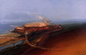 Se convirtió en un ser (1990). Óleo sobre lienzo 120 x 193 cm. Colección particular.