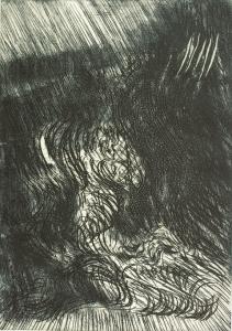 """S/T (1981). Grabado al aguafuerte estampado sobre papel (66/200) perteneciente a la carpeta de obra gráfica de artistas cántabros """"SILENCIOS"""". Tamaño papel 56 x 38 cm, tamaño huella 41 x 28 cm. Colección particular."""