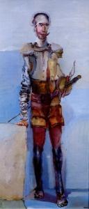 """""""Don Quijote"""" (1981). Óleo sobre lienzo 80 x 130 cm. Colección Museo Iconográfico del Quijote. Guanajuato/MEXICO."""