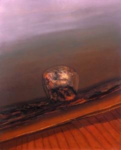 El último siglo de un ser (1986). Óleo sobre lienzo 162 x 128 cm. Colección particular.
