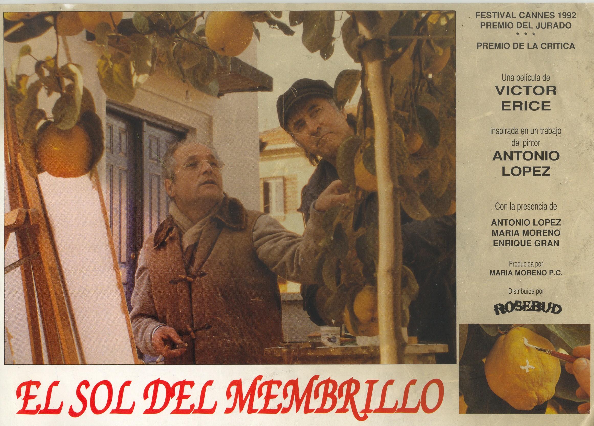 """Afiche promocional de la película """"El sol del membrillo"""", en el que aparecen Antonio López y Enrique Gran."""